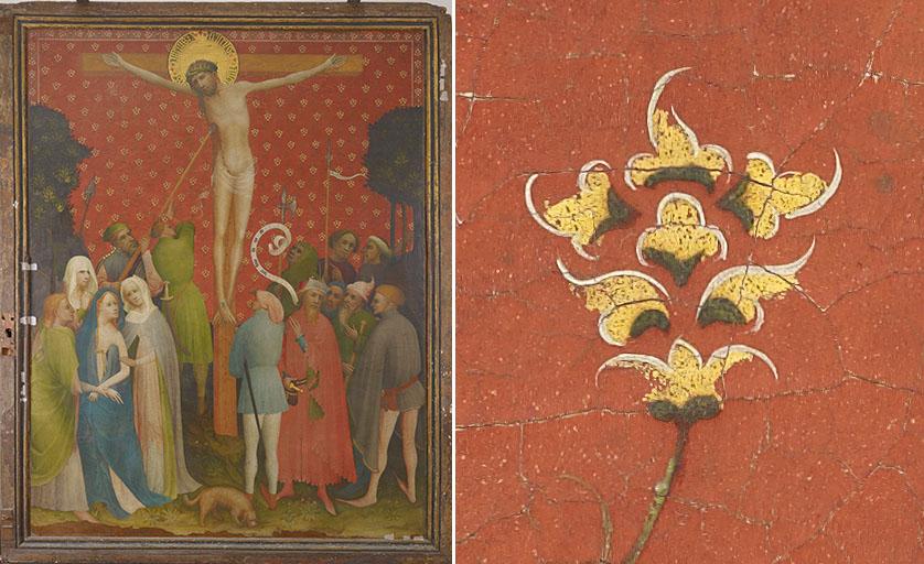 Goldene Tafel Detail aus dem Blütenornament des Hintergrundes der Bildtafel mit Kreuzigung Christi: Die Blüten sind mit Zwischgold gestaltet, einem Blattmetall, das aus Silber und Gold besteht.