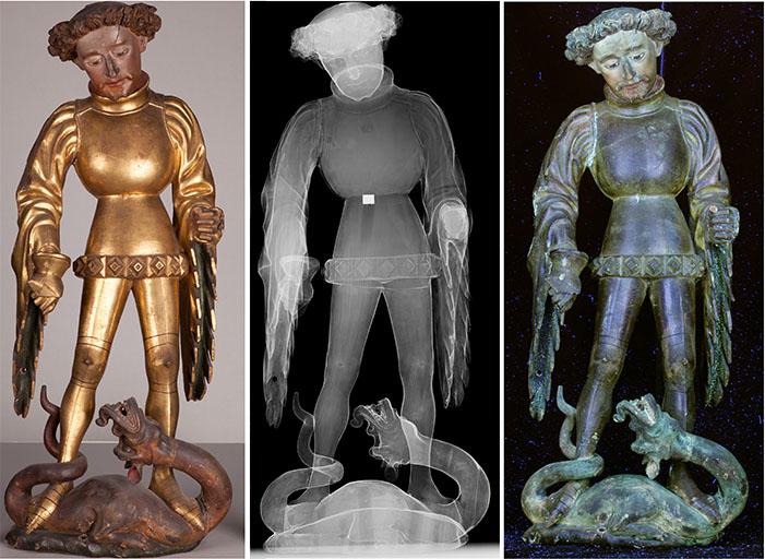 Die Skulptur des hl. Georg mit seinem Attribut, dem Drachen (links). Lanze und Schwert gingen wahrscheinlich im 19. Jahrhundert verloren. Das Röntgenbild (Mitte) zeigt die Holzmaserung, Ansatzfugen im Holz und den metallenen Haken (weiß in der Körpermitte), mit dem die Skulptur im Altarflügel fixiert wird. Die Aufnahme der UV-Fluoreszenz (rechts) zeigt gelblich-grünlich fluoreszierende spätere Überzüge vor allem im Bereich des Kopfes, der Ärmelfutter und des Drachens.